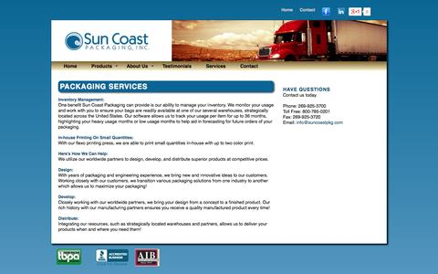 Screenshot of Services Page suncoastpkg.com - Bulk Packaging Services, Inventory managment, In House Printing - captured Oct. 6, 2014