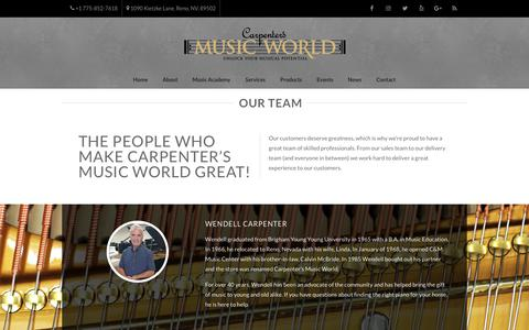 Screenshot of Team Page carpentersmusic.com - Our Team - Carpenter's Music World - captured Sept. 27, 2018