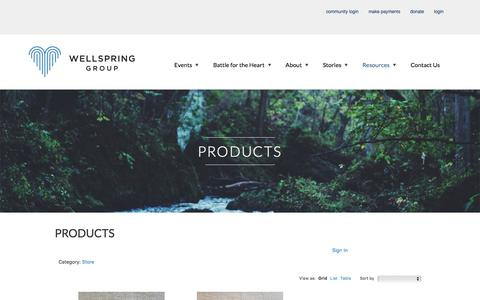 Screenshot of Products Page wellspringgroup.org - Products - Wellspring Group - captured Nov. 7, 2016