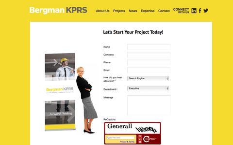 Screenshot of Contact Page bergmankprs.com - Contact Us - captured Sept. 30, 2014