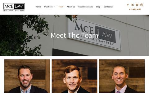 Screenshot of Team Page mcelaw.com - Meet The Team | McE Law in Murfreesboro, TN - captured Nov. 12, 2018