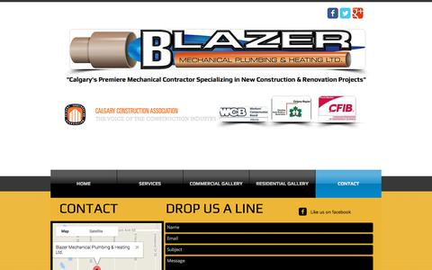 Screenshot of Contact Page blazermechanical.com - Contact a qualified Plumber in Calgary - captured Oct. 10, 2017