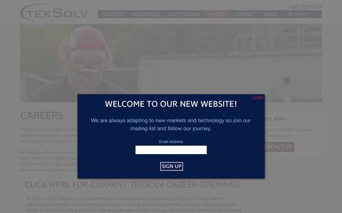 Screenshot of Jobs Page teksolv.com - Careers - TekSolv - captured Dec. 26, 2017