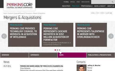 Screenshot of Press Page perkinscoie.com - Mergers & Acquisitions | Perkins Coie - captured June 11, 2016