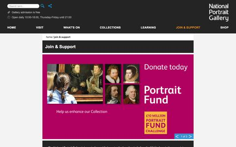 Screenshot of Support Page npg.org.uk - Join & Support - National Portrait Gallery - captured July 3, 2017