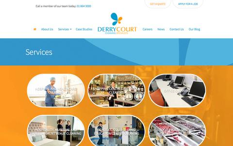 Screenshot of Services Page derrycourt.ie - Services, Our complete range of contract cleaning services, Derrycourt Cleaning Specialists - captured Nov. 24, 2016