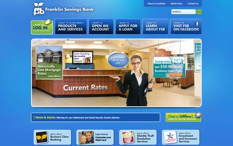 Screenshot of Home Page Privacy Page fsbnh.com - Home :: Franklin Savings Bank - captured Sept. 25, 2014
