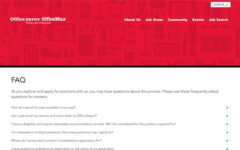 Screenshot of FAQ Page officedepot.com - FAQ - Office Depot OfficeMax - captured Oct. 23, 2018