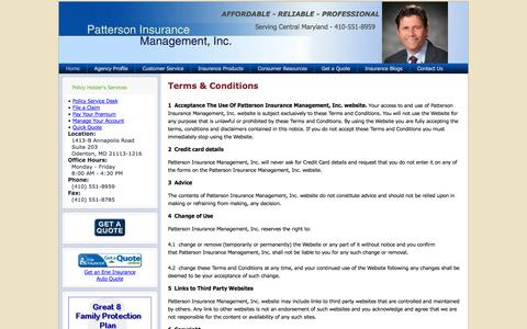 Screenshot of Terms Page pattins.com - Terms & Conditions - captured Oct. 2, 2014