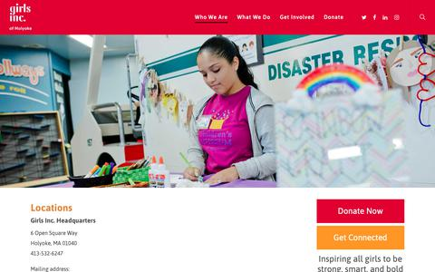 Screenshot of Locations Page girlsincholyoke.org - Locations – Girls Inc. of Holyoke - captured Sept. 28, 2018