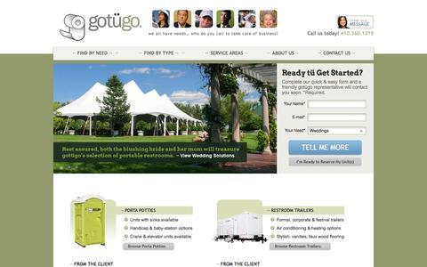 Screenshot of Home Page gotugo.com - Porta Potty Rentals in MD, VA & DC | Portable Restroom | gotügo - captured Sept. 30, 2014