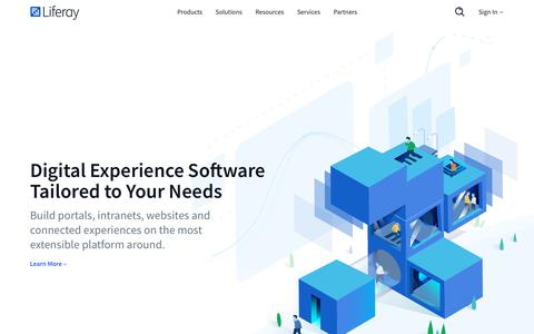 Screenshot of Home Page liferay.com - Digital Experience Software Tailored to Your Needs | Liferay - captured July 11, 2018