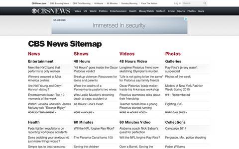 Screenshot of Site Map Page cbsnews.com - CBSNews.com Sitemap - CBS News - captured Sept. 12, 2014