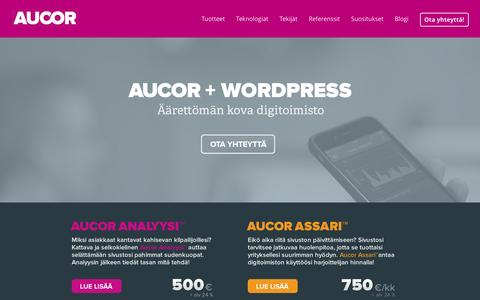 Screenshot of Home Page aucor.fi - Suomen kovin WordPress-toteuttaja – Aucor Oy - captured Jan. 9, 2016