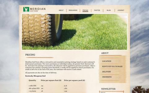 Screenshot of Pricing Page meridiansod.com - Pricing - Meridian Sod Farm - captured Oct. 27, 2014