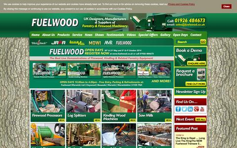 Screenshot of Home Page fuelwood.co.uk - Fuelwood Warwick | Firewood and Timber Conversion Machinery - captured Oct. 6, 2014