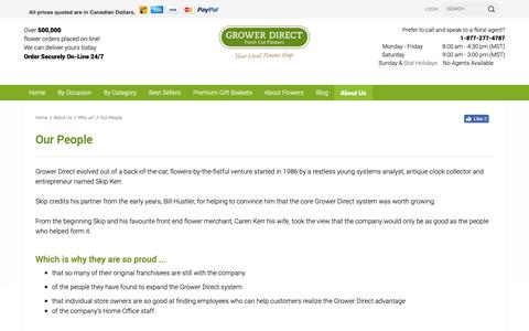 Screenshot of Team Page growerdirect.com - Grower Direct - The key to our success is in our people - captured Sept. 30, 2018