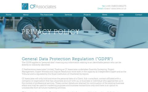 Screenshot of Privacy Page cf-associates.co.uk - Privacy Policy | CF Associates - captured July 14, 2018