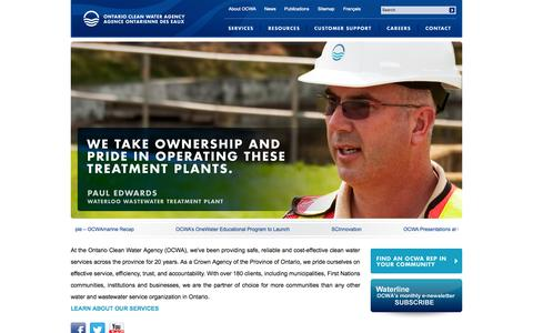 Screenshot of Home Page ocwa.com - Ontario Clean Water Agency | Home | Ontario Clean Water Agency - captured Oct. 7, 2014