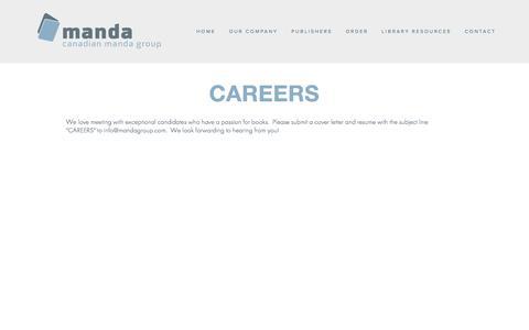 Screenshot of Jobs Page mandagroup.com - Careers — Manda Group - captured Jan. 24, 2016