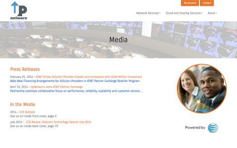 Screenshot of Press Page upnetworx.com - Media | UpNetworx - captured Oct. 7, 2014