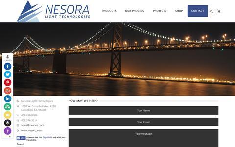 Screenshot of Contact Page nesora.com - Contact | Nesora Light Technologies | LED Lighting | Light Emitting Diode(LED) Lighting Solutions - captured Feb. 14, 2016