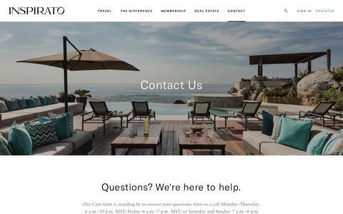 Screenshot of Contact Page inspirato.com - Contact Us - captured June 15, 2018