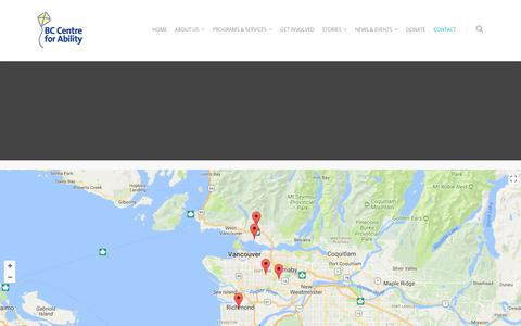 Screenshot of Contact Page bc-cfa.org - Contact Us | BC Centre For Ability | BCCFA - captured Oct. 9, 2017