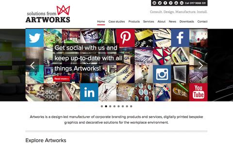 Screenshot of Home Page artworks-solutions.com - Digitally Printed Bespoke Graphics and Decorative Solutions - Artworks Solutions Ltd - captured Oct. 4, 2014