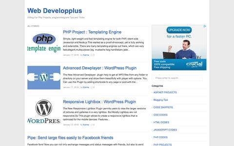 Screenshot of Home Page webdevelopplus.com - Download Php Projects| Code Snippets|Tips and Tricks - captured Aug. 27, 2016