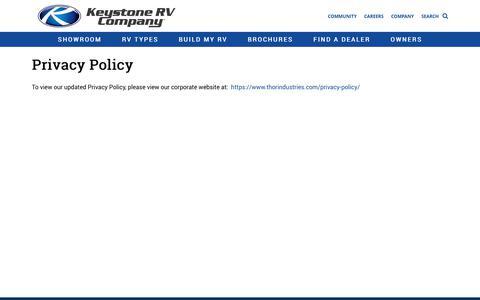 Screenshot of Privacy Page keystonerv.com - Privacy Policy | Keystone RV - captured July 13, 2018