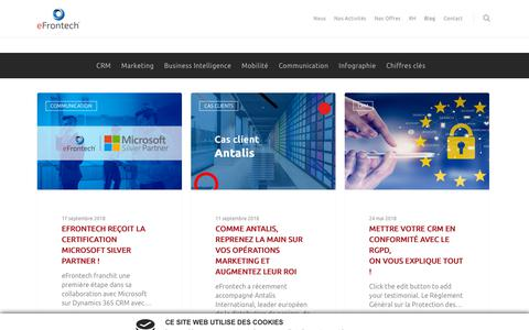 Screenshot of Blog efrontech.com - Le Blog eFrontech c'est ici ! Articles, Cas clients, Interviews - eFrontech - captured Sept. 29, 2018
