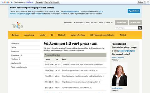 Screenshot of Press Page telge.se - Välkommen till vårt pressrum - captured Sept. 22, 2018
