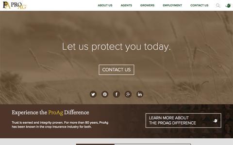 Screenshot of Home Page proag.com - Crop Insurance Provider - ProAg - captured Oct. 3, 2014