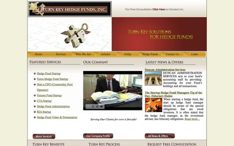 Screenshot of Home Page turnkeyhedgefunds.com - Starting a Hedge Fund, Hedge Fund Back office solution - captured Sept. 30, 2014