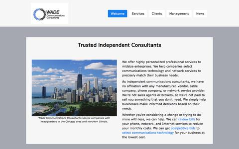 Screenshot of Home Page wadeconsultants.com - Wade - Telecom Consultants - captured Oct. 24, 2017