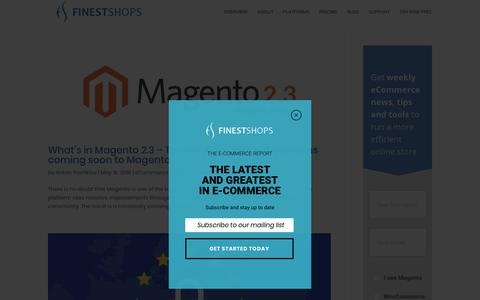 Screenshot of Blog finestshops.com - Blog - FinestShops - E-commerce optimization and management for Magento, X-Cart and WooCommerce Shopping Carts - captured May 19, 2018