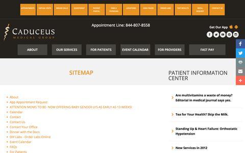 Screenshot of Site Map Page caduceusmedicalgroup.com - Sitemap - Caduceus Medical Group - captured Nov. 4, 2018