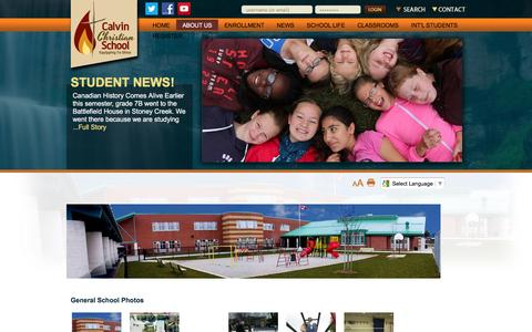 Screenshot of About Page ccshamilton.ca - Calvin Christian School  - ABOUT US - captured Jan. 24, 2016