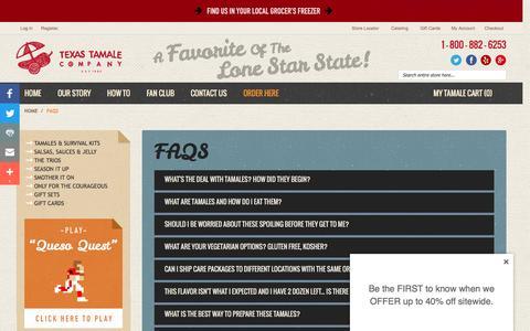 Screenshot of FAQ Page texastamale.com - Texas Tamale Company FAQS Houston, TX - captured Dec. 16, 2016