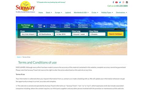 Screenshot of Terms Page sunway.ie - Terms of Use | Sunway.ie - captured Dec. 17, 2018