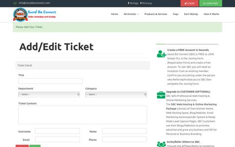Screenshot of Contact Page socialbizconnect.com - Add Ticket - captured Sept. 25, 2018
