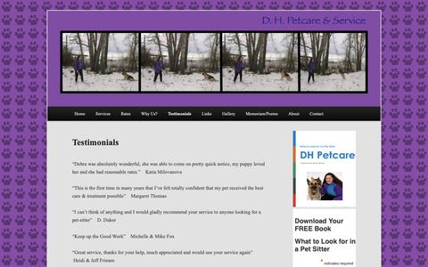 Screenshot of Testimonials Page dhpetcare.com - Testimonials | A Calgary Pet Sitting company with credentials and medical training. - captured Oct. 1, 2018