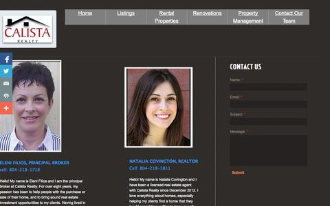 Screenshot of Privacy Page calistarealty.com - About - captured Oct. 1, 2014
