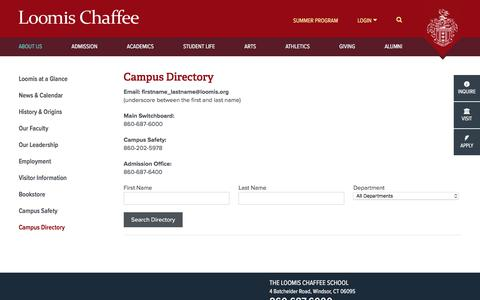 Screenshot of Contact Page loomischaffee.org - Campus Directory - The Loomis Chaffee School - captured Nov. 10, 2017