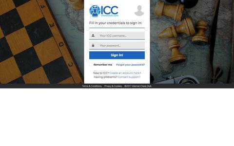 Screenshot of Login Page chessclub.com - ICC Sign in - captured Nov. 25, 2017