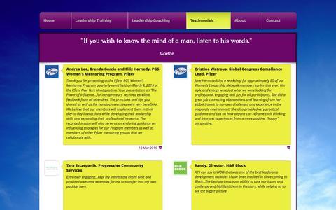 Screenshot of Testimonials Page pioneerexecutivecoaching.com - Testimonials - captured Nov. 7, 2016