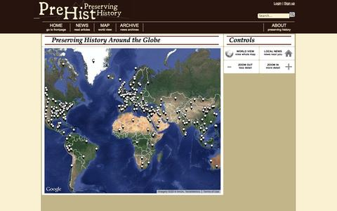 Screenshot of Maps & Directions Page prehist.org - Preserving History Around the Globe |              PreHist: Preserving History News - captured Oct. 27, 2014