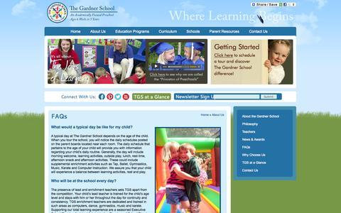 Screenshot of FAQ Page thegardnerschool.com - FAQs - The Gardner School - Academically Focused Preschool - captured Oct. 26, 2014