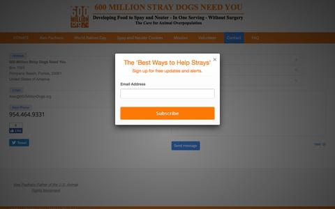 Screenshot of Contact Page 600milliondogs.org - 600 Million Dogs |   Contact - captured Nov. 28, 2016